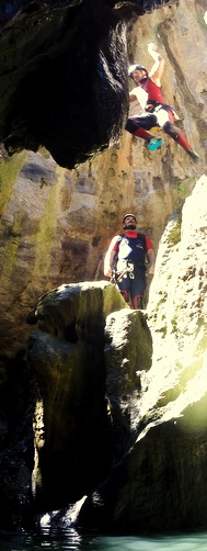 Canyoning in Benahavis, jumping from a rock